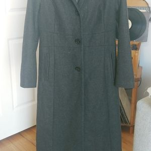 Anne Klein Long Gray Hooded Coat